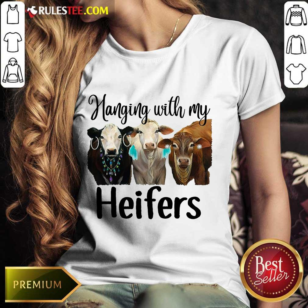 Funny Cow Hanging With My Heifers Ladies Tee
