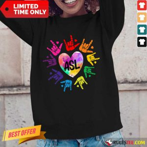 Perfect Asl Love Hands Watercolor Long-Sleeved