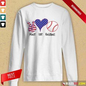 Place Love Baseball American Flag Long-Sleeved