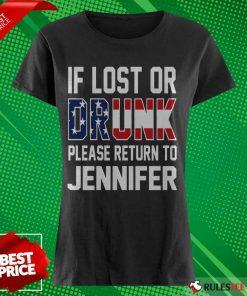Pretty American Flag If Lost Or Drunk Please Return To Jennifer Ladies Tee