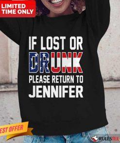 Pretty American Flag If Lost Or Drunk Please Return To Jennifer Long-Sleeved