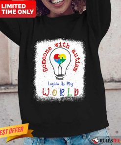 Pretty Lights Up My World Someone With Autism Awareness Long-Sleeved