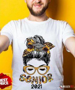 Pretty Sunflower Senior 2021 Girl Bun Hair Glasses Shirt