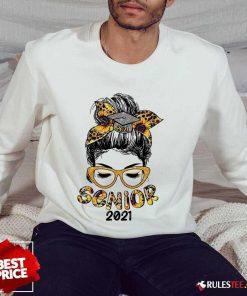 Pretty Sunflower Senior 2021 Girl Bun Hair Glasses Sweater