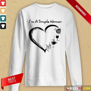 I'm A Simple Woman Heart Flip Flop Knitting Wine Long-Sleeved