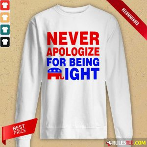 Never Apologize For Being Right Long-Sleeved