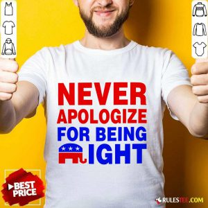 Never Apologize For Being Right Shirt