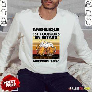 Beer Angelique Est Toujours En Retard Sauf Pour L'apero Vintage Sweater
