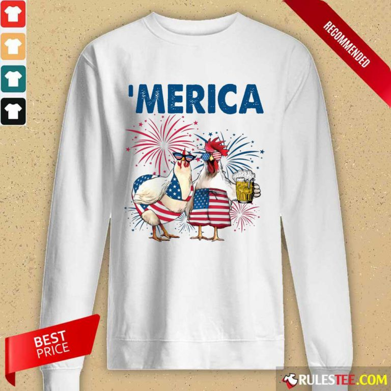 Chicken Drinking Beer 'Merica Independence Day Long-Sleeved