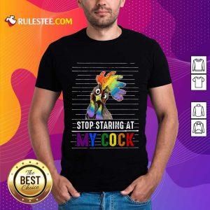 Chicken Stop Staring At My Cock LGBT Shirt