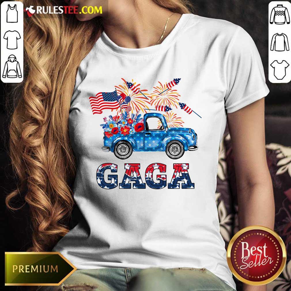 Gaga Flower Pickup Truck American Flag 4th Of July Ladies Tee