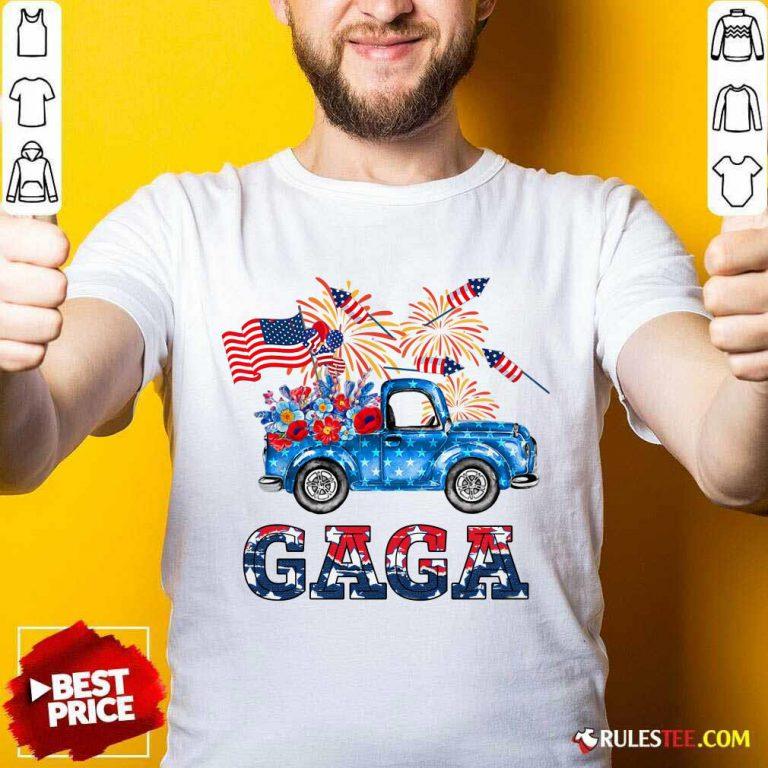 Gaga Flower Pickup Truck American Flag 4th Of July Shirt