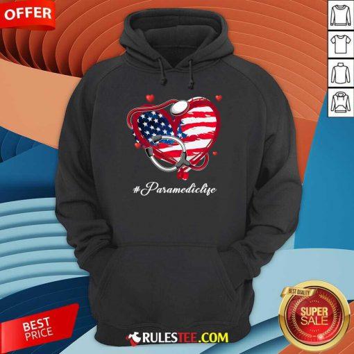 Heart American Flag Paramedic Hoodie