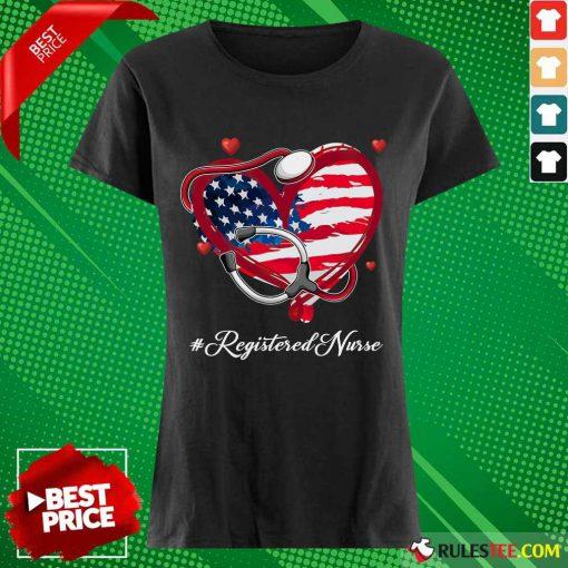 Heart American Flag Registered Nurse Ladies Tee