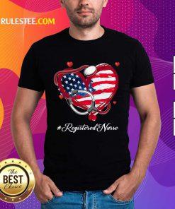 Heart American Flag Registered Nurse Shirt