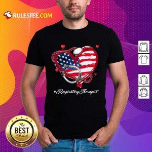 Heart American Flag Respiratory Therapist Shirt
