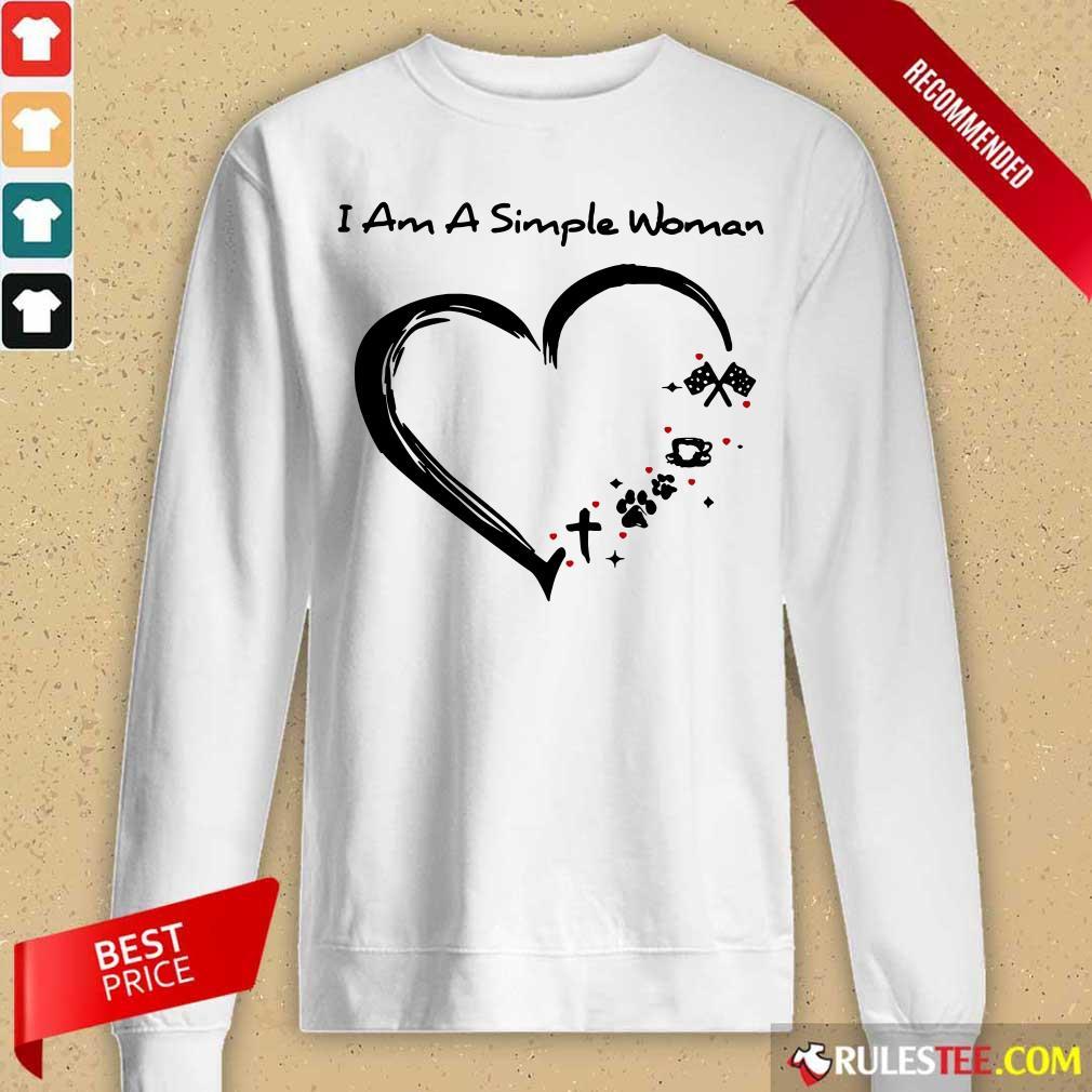 Heart I Am A Simple Woman Race Coffee Paw Cross Long-Sleeved