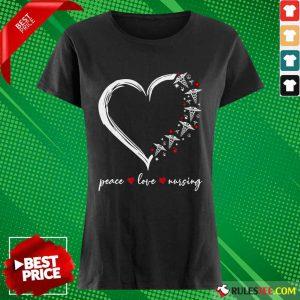 Heart Peace Love Nursing Ladies Tee