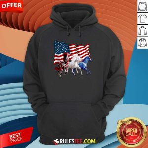 Horse American Flag Independence Day Hoodie
