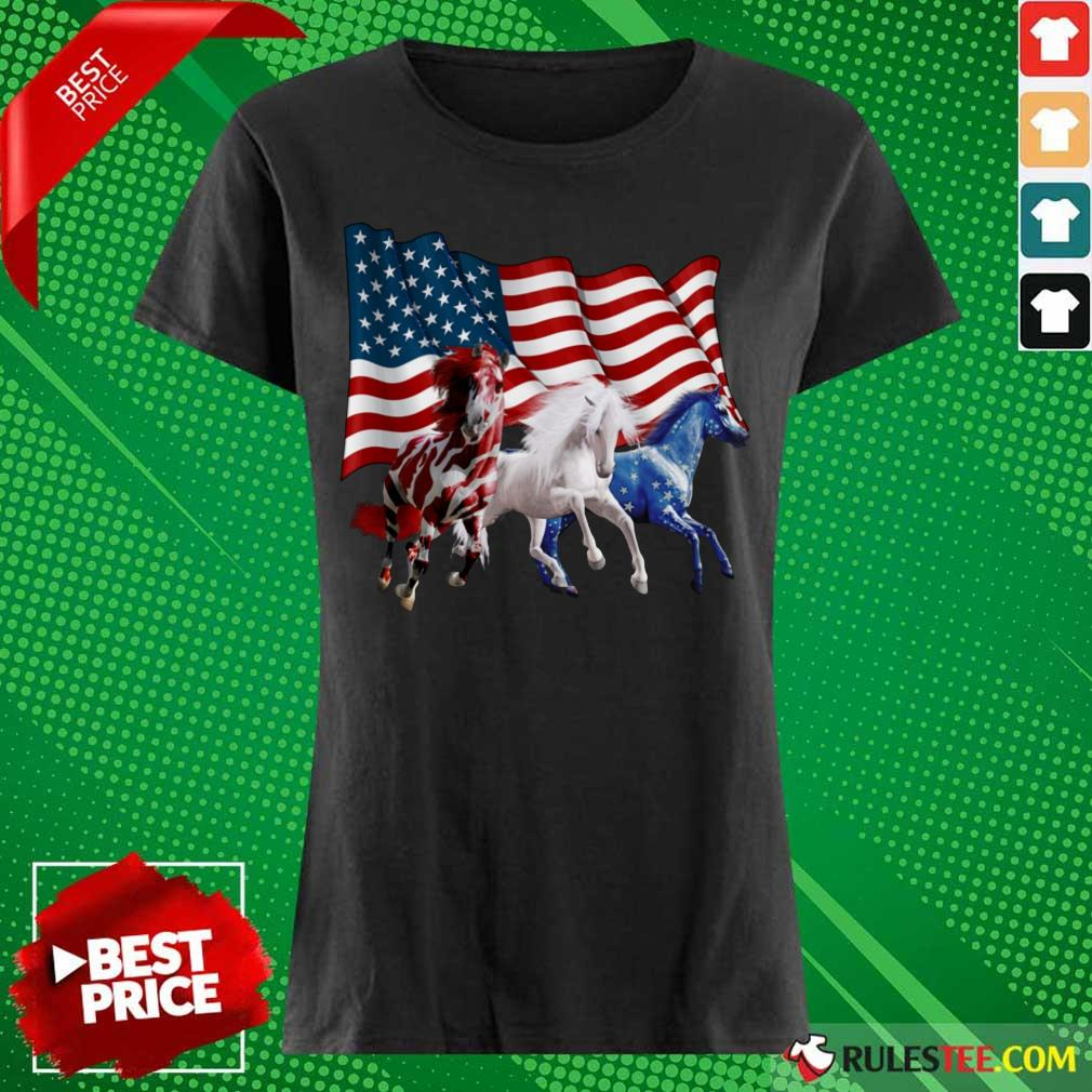 Horse American Flag Independence Day Ladies Tee