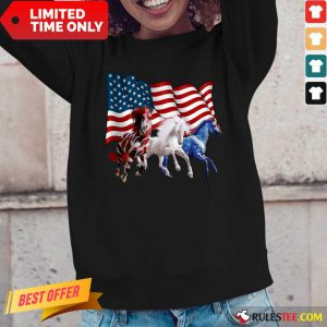 Horse American Flag Independence Day Long-Sleeved