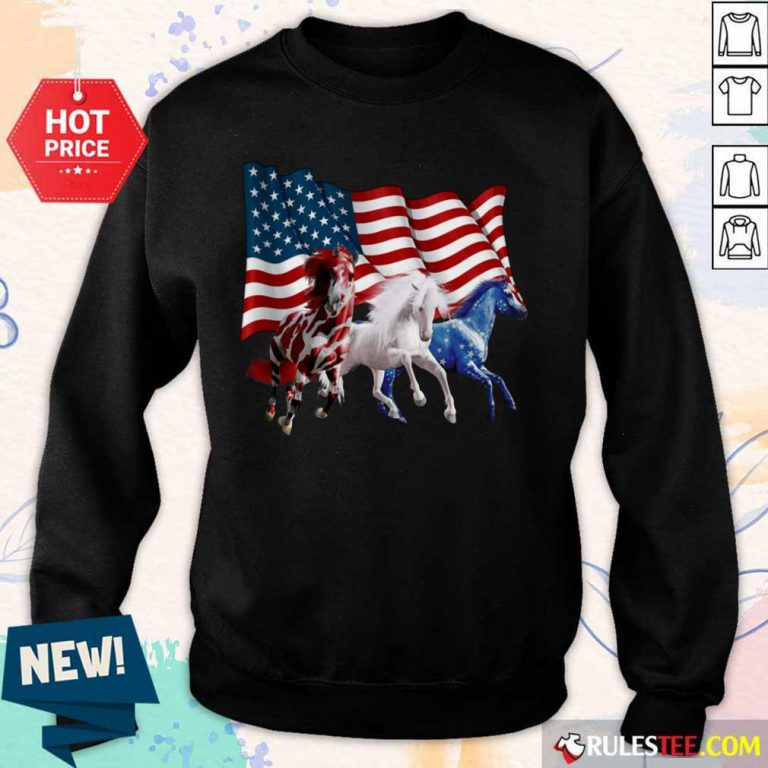 Horse American Flag Independence Day Sweater
