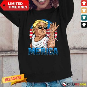 Hot Trump America Flag 4th Of July Long Sleeved