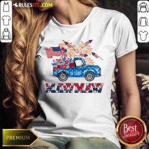 Mawmaw Flower Pickup Truck American Flag 4th Of July Ladies Tee