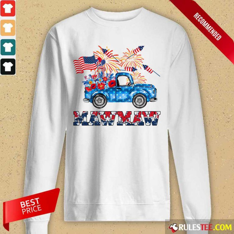 Mawmaw Flower Pickup Truck American Flag 4th Of July Long-Sleeved