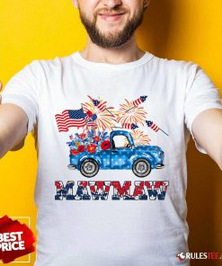 Mawmaw Flower Pickup Truck American Flag 4th Of July Shirt