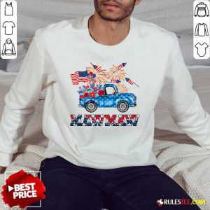 Mawmaw Flower Pickup Truck American Flag 4th Of July Sweater