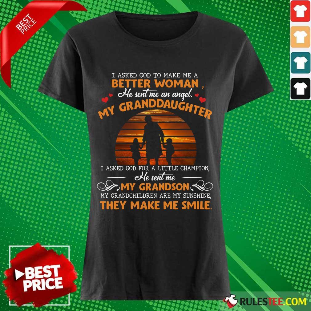 My Granddaughter My Grandson Smile Ladies Tee