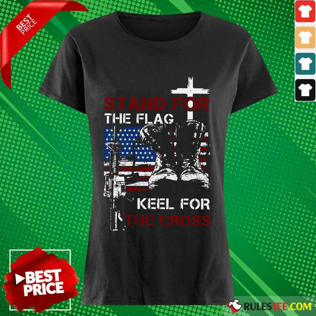 Stand For The Flag Keel For The Cross Ladies Tee