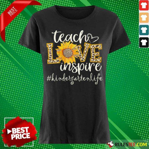 Teach Love Inspire Cute Sunflower Leopard Kindergarten Life Ladies Tee