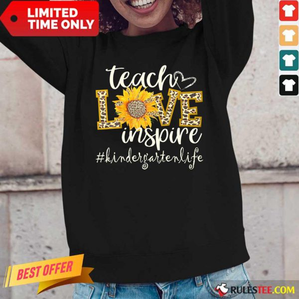 Teach Love Inspire Cute Sunflower Leopard Kindergarten Life Long-Sleeved