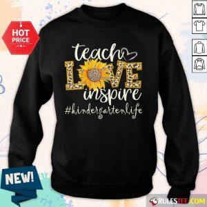 Teach Love Inspire Cute Sunflower Leopard Kindergarten Life Sweater