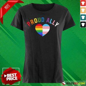 Top Proud Ally LGBT Rainbow Transgender Pride Heart Ladies Tee
