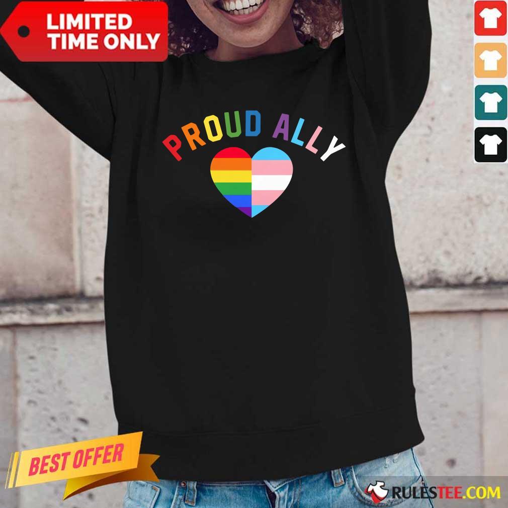 Top Proud Ally LGBT Rainbow Transgender Pride Heart Long-Sleeved