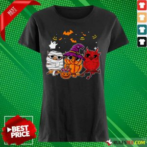 Witch Owl Scary And Cute Halloween Ladies Tee