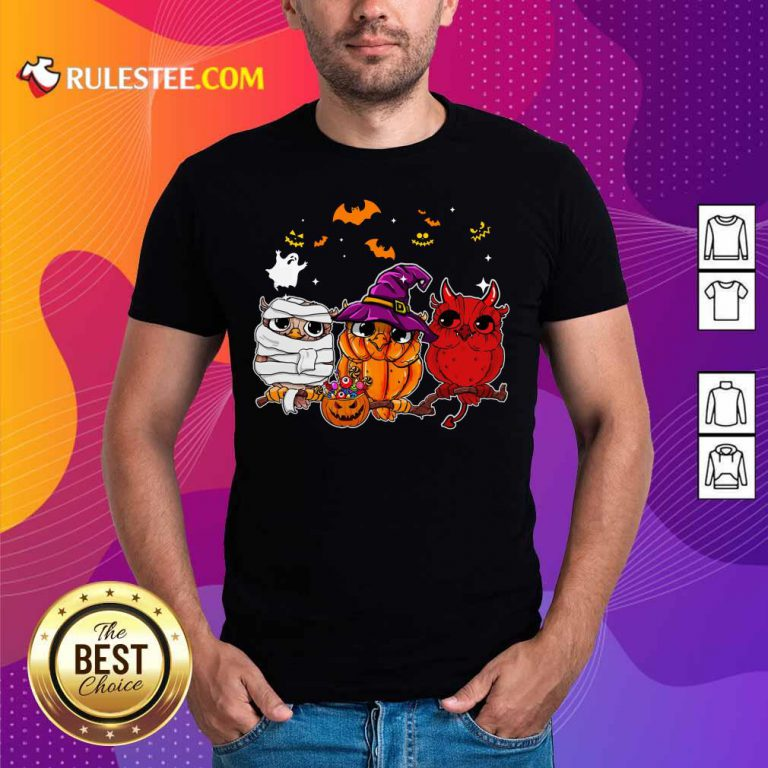 Witch Owl Scary And Cute Halloween Shirt