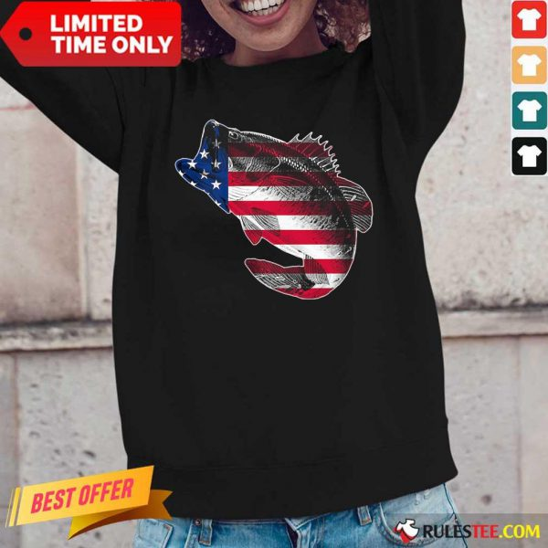 Bass Fishing American Flag 4th Of July Long-Sleeved