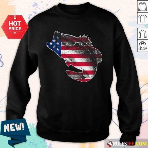 Bass Fishing American Flag 4th Of July Sweater
