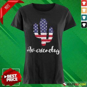 Cactus American Flag 4th Of July Ladies Tee