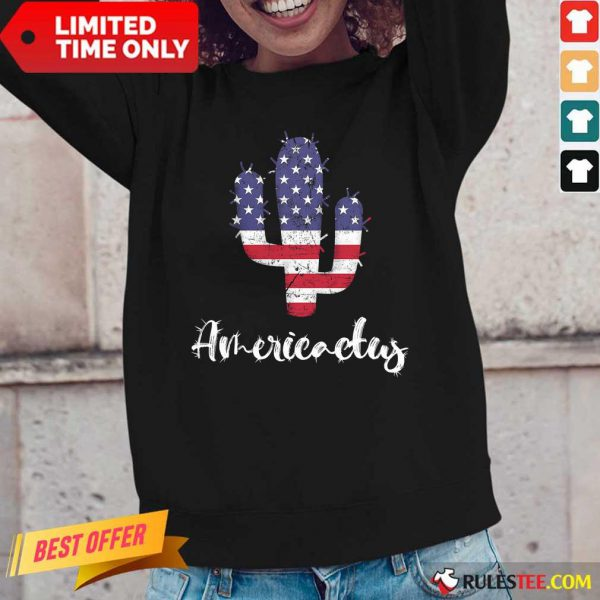Cactus American Flag 4th Of July Long-Sleeved