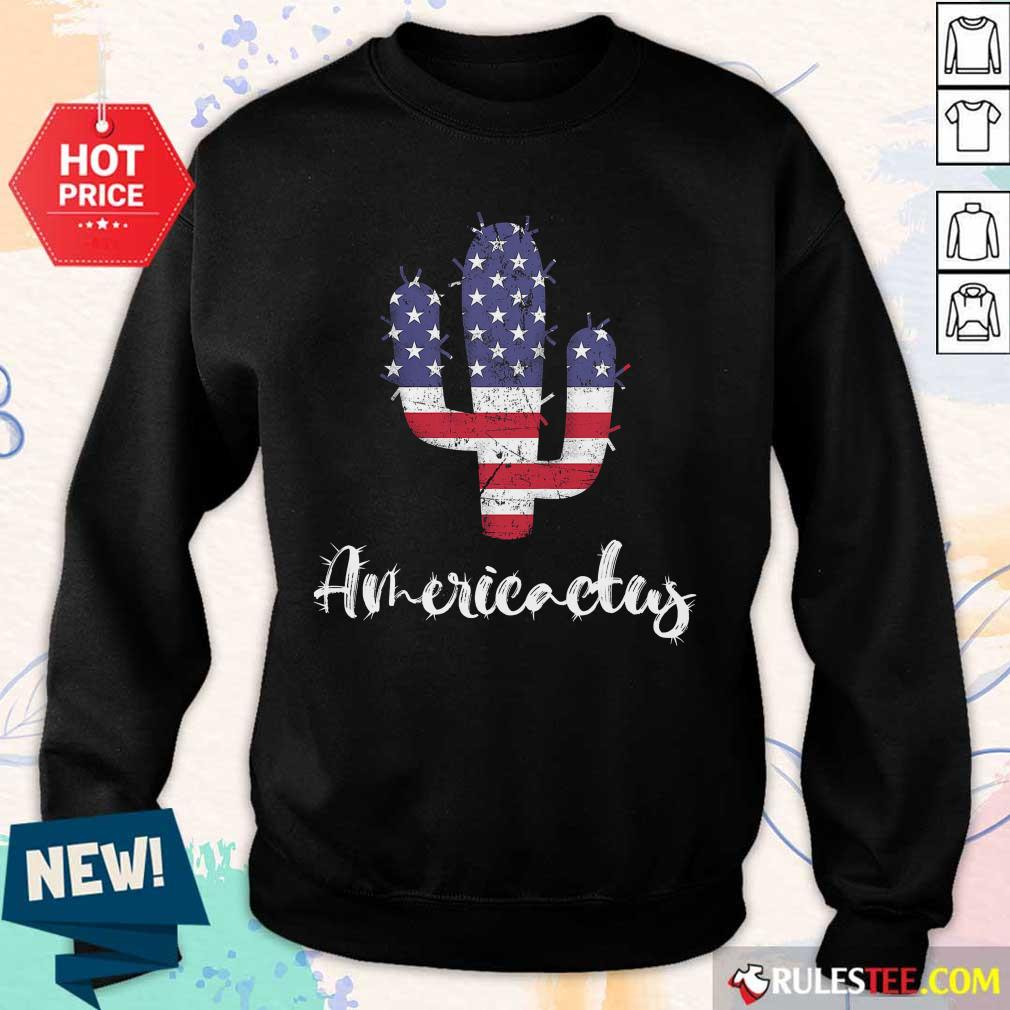Cactus American Flag 4th Of July Sweater