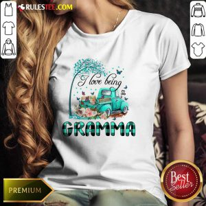 Car And Flowers I Love Being Gramma Ladies Tee