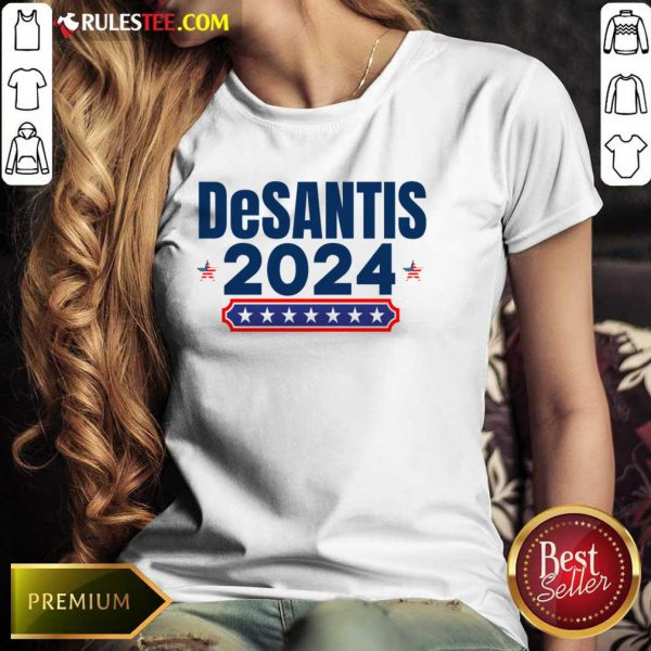 Desantis 2024 Stars And Stripes Red White And Blue Ladies Tee