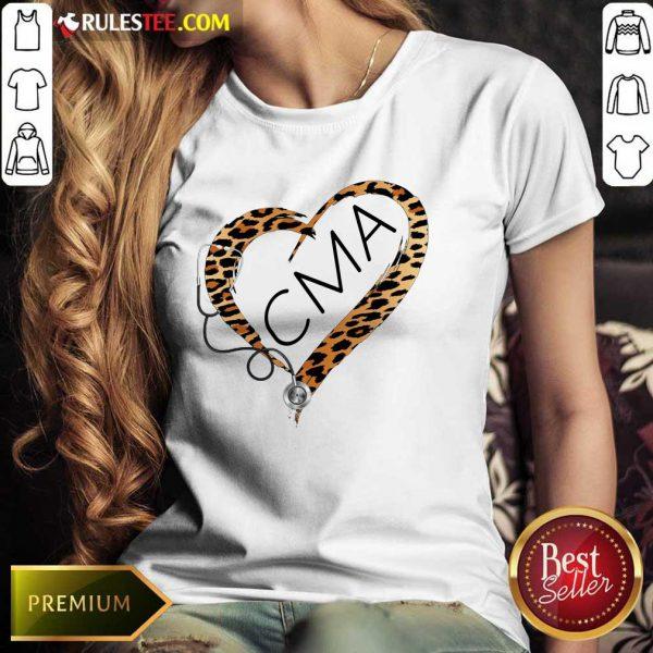Heart CMA Medical Stethoscope Nurse Leopard Ladies Tee