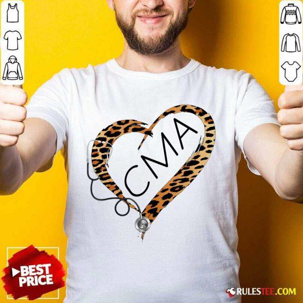 Heart CMA Medical Stethoscope Nurse Leopard Shirt