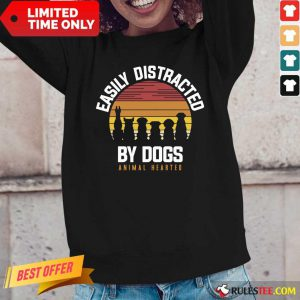Hot Easily Distracted By Dogs Animal Hearted Vintage Long-Sleeved